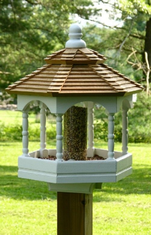 Gazebo bird feeder with 2 cup seed resevoir