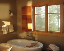 Spanish Cedar Shutters for a Bathroom