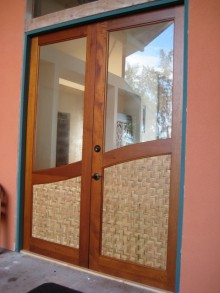 custom exterior door with glass insert