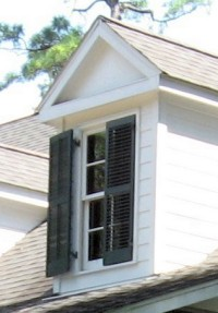 exterior shutters on a gable window