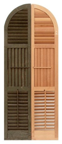 Exterior Custom Shutters with 1.3/4'' Horizontal and Vertical Operable Louvers with Quarter Round Arched Top