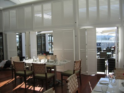 Faux Plantation Shutters for an outdoor caf
