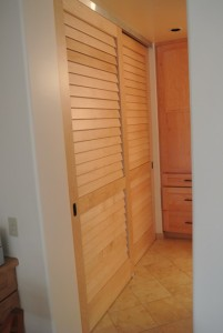 Fixed louver sliding closet doors made with Hard Maple stave core