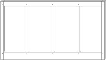 Bahama shutter with 3 center stiles
