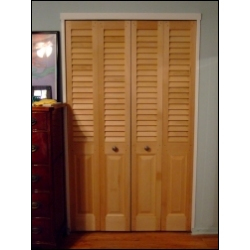 louvered doors with a colonial raised panel