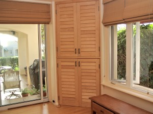 media center louvered doors built with Maple stave core