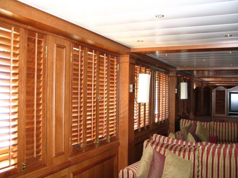 oak plantation shutters on a Greek cruise ship