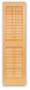 "Interior and Exterior Plantation Shutters with 2.1/2"" operable louver blades"